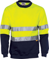 DNC Hi Vis Two Tone Fleecy Sweat Shirt (Sloppy Joe) with CSR Reflective Tape Crew-Neck (3824) - Ace Workwear