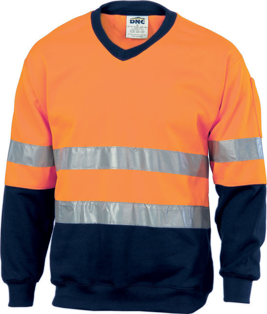 DNC Hi Vis Two Tone Sweatshirt (Sloppy Joe) With Reflective Tape V-Neck (3921) - Ace Workwear