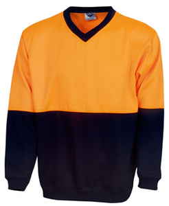 Hi Vis Fleecy Sweat V-Neck (F82) - Ace Workwear