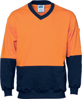 DNC Hi Vis Cotton Fleecy V-Neck Sweat Shirt (3922) - Ace Workwear
