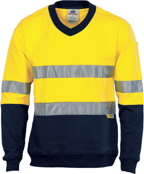 DNC Hi Vis Cotton Fleecy V-Neck Sweat Shirt with 3M Reflective Tape (3924) - Ace Workwear