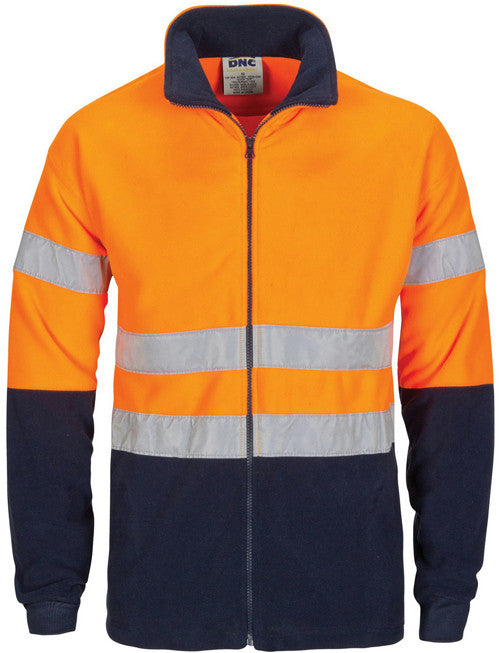 DNC Hi Vis Two Tone Full Zip Polar Fleece With Generic Reflective Tape (3830) - Ace Workwear