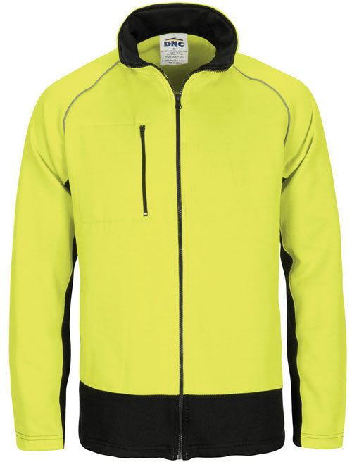 DNC Hi Vis Full Zip Fleecy Sweat Shirt With Two Side Zipped Pockets (3725) - Ace Workwear