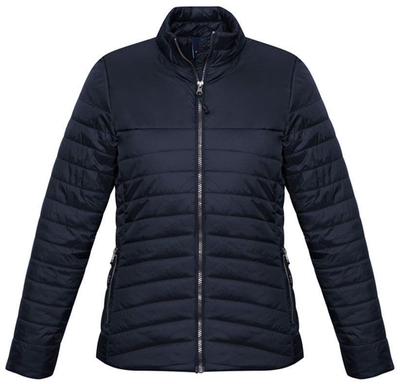 Ladies Expedition Quilted Jacket Front - Navy