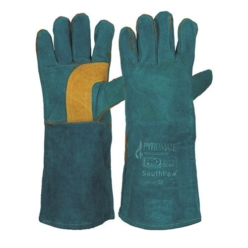 Pro Choice Pyromate® South Paw® Left Hand Pair -Green & Gold Kevlar® Glove Green - Pack (12 Pairs) (LGW16E) - Ace Workwear