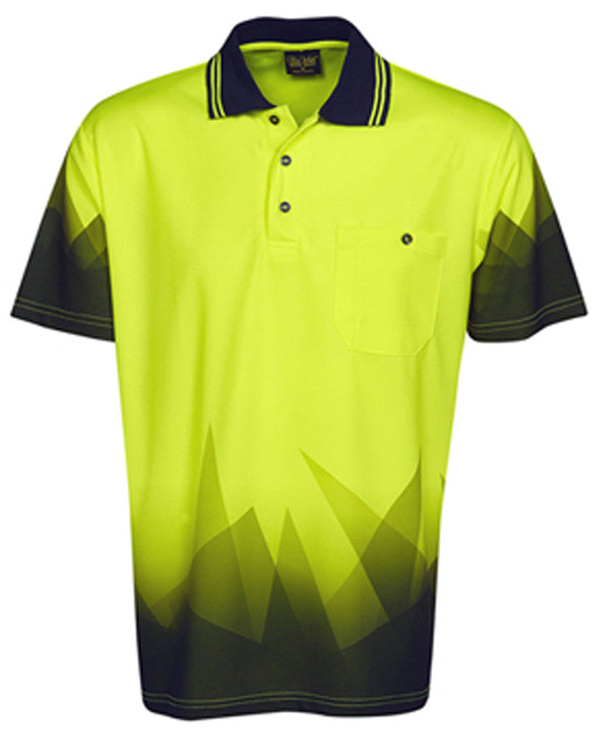Hi Vis Polo Shirt Short Sleeve Triangular Design Sublimation Printed (P65) - Ace Workwear