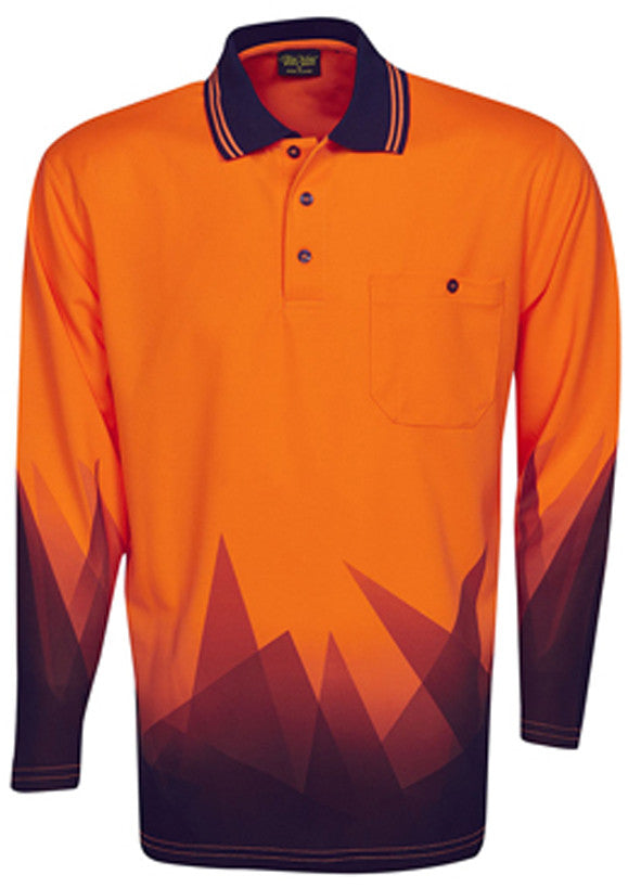 Hi Vis Polo Shirt Long Sleeve Triangular Design Sublimation Printed (P68) - Ace Workwear