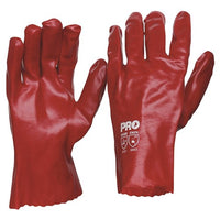 Pro Choice 27cm Red PVC Gloves Large - Pack (12 Pairs) (PVC27)