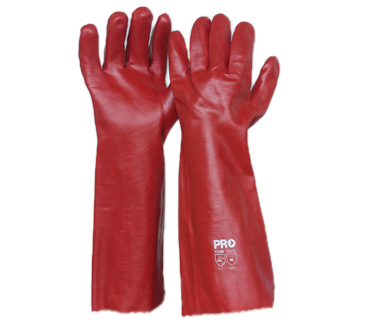 Red PVC Long Gloves - Pack (12 Pairs) - Ace Workwear