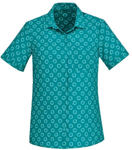Biz Care Womens Easy Stretch Daisy Print Short Sleeve Shirt - Ace Workwear