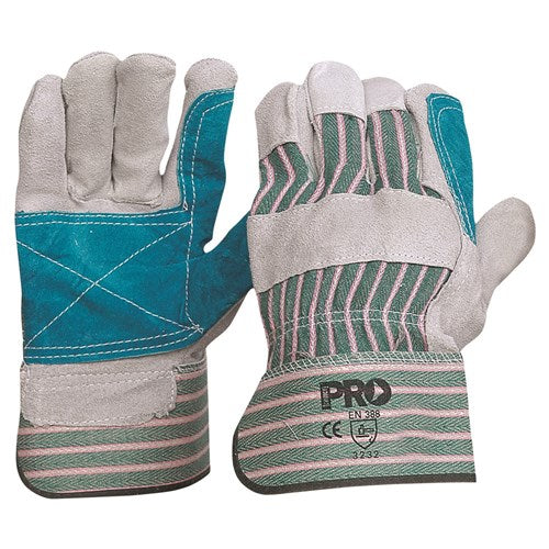Pro Choice Green & Grey Striped Cotton / Leather Gloves Large - Pack (12 Pairs) (R88FG)