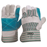Pro Choice Green & Grey Striped Cotton / Leather Gloves Large - Pack (12 Pairs) (R88FG) - Ace Workwear