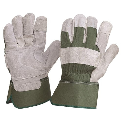 Pro Choice Green Cotton / Leather Gloves Large - Pack (12 Pairs) (R99KG)