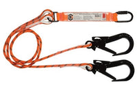 LINQ Double Leg Kernmantle 2M Shock Absorb Rope Lanyard with Hardware KD & ST X2 X2 (RLO2KDST)