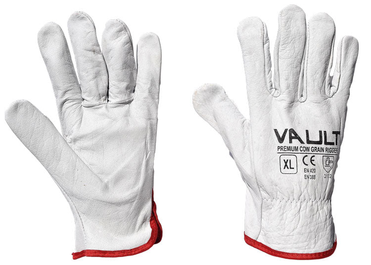 Premium Rigger Gloves Natural Cow Grain Leather Vault - Pack (12 Pairs) - Ace Workwear