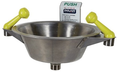 PRATT Wall Mounted Single Nozzle Eye Wash With Bowl. No Foot Treadle (SE505) - Ace Workwear