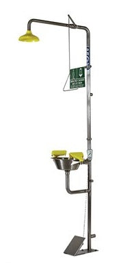 PRATT Combination 316SS Shower Triple Nozzle Eye & Face Wash With Bowl & Foot Treadle (SE607T316) - Ace Workwear
