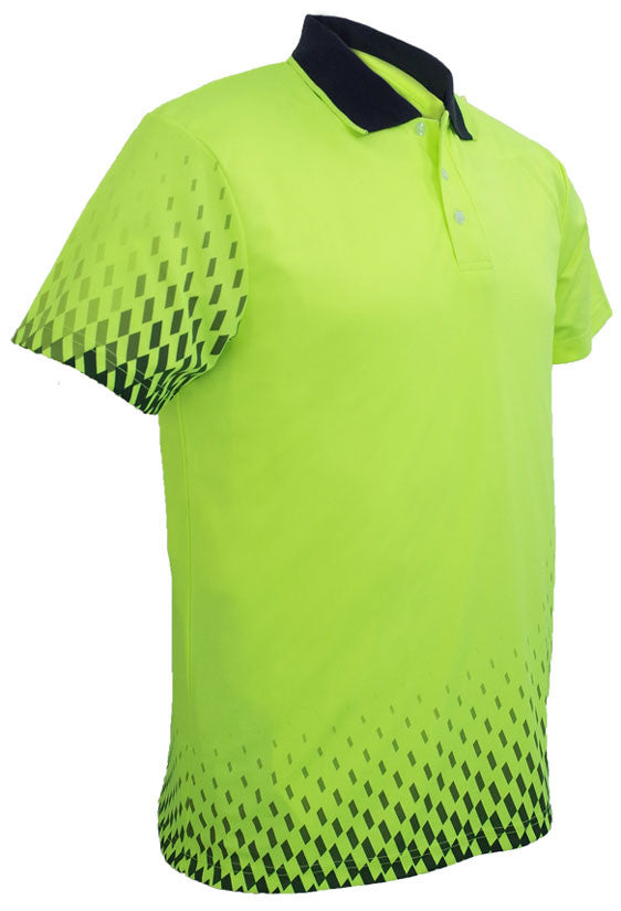 Hi Vis Gradient Polo Short Sleeve Front - Yellow/Navy