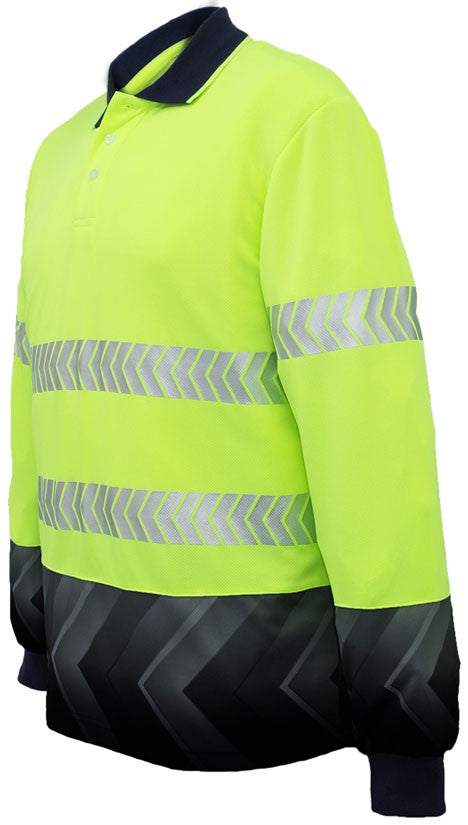 Hi Vis Sublimated Reflective Polo Long Sleeve (SP0724) - Ace Workwear