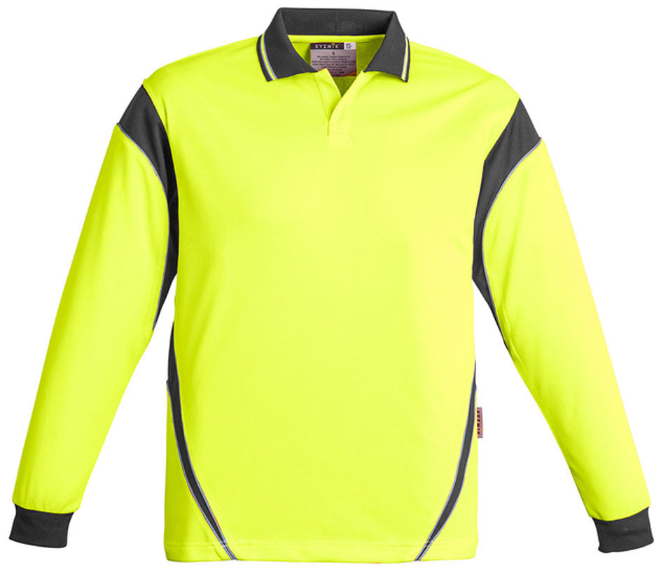 Hi Vis Mens Aztec Polo Long Sleeve (ZH249) - Ace Workwear