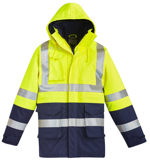 Syzmik Hi Vis Mens FR Arc Rated Anti Static Waterproof Jacket - Ace Workwear