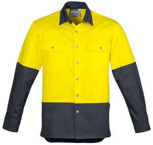 Mens Hi Vis Spliced Industrial Shirt (ZW122) - Ace Workwear