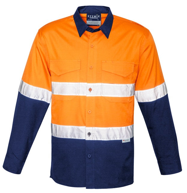 Syzmik Mens Rugged Cooling Taped Hi Vis Spliced Shirt (ZW129) - Ace Workwear