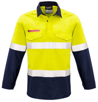 Syzmik Mens Hi Vis FR Closed Front Hooped Taped Spliced Shirt