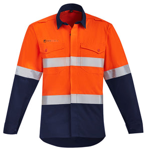 Syzmik Mens Hi Vis Orange Flame HRC 2 Hoop Taped Open Front Spliced Shirt - Ace Workwear