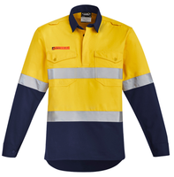 Mens Orange Flame HRC 2 Hoop Taped Closed Front Spliced Shirt (ZW143) - Ace Workwear