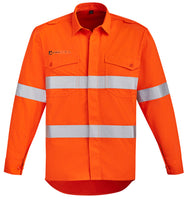 Syzmik Mens Orange Flame HRC 2 Hoop Taped Open Front Spliced Shirt - Ace Workwear