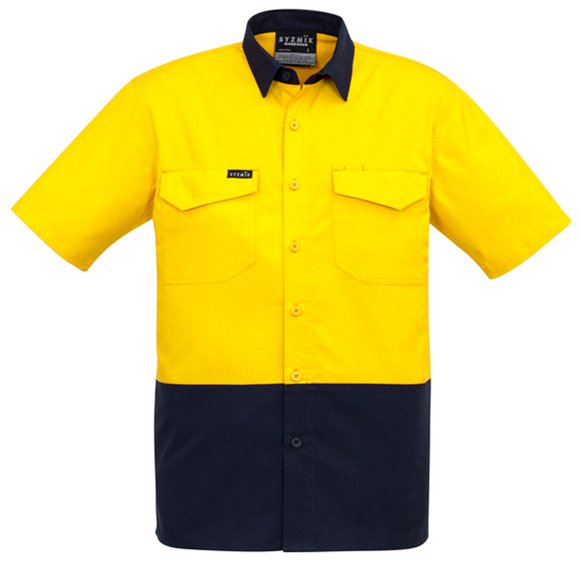 Mens Rugged Cooling Hi Vis Spliced S/S Shirt (ZW815) - Ace Workwear