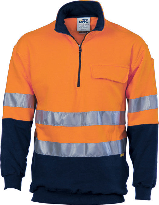 DNC Hi Vis 1/2 Zip Cotton Fleecy Windcheater With 3M Reflective Tape (3925) - Ace Workwear