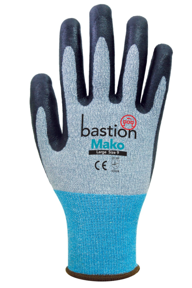 Bastion Mako - Grey HPPE/Spandex Gloves Black Micro Foam Flex Nitrile Coating - Carton (120 Pairs) (BSG6653)