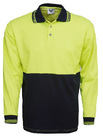 Hi Vis Cotton Back Polo Long Sleeve (P84) - Ace Workwear