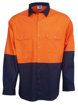 Hi Vis Cotton Drill Shirt Long Sleeve (C83) - Ace Workwear