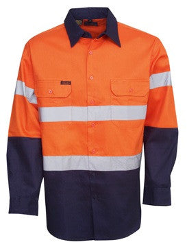 Hi Vis Cotton Drill Shirt with Reflective Tape Long Sleeve (C93) - Ace Workwear