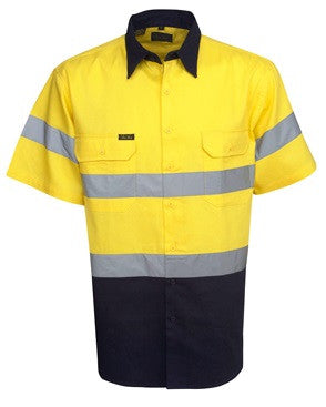 Hi Vis Cotton Drill Shirt with Reflective Tape Short Sleeve (C94) - Ace Workwear