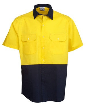 Hi Vis Cotton Drill Shirt Short Sleeve (C84) - Ace Workwear