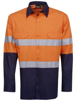 Hi Vis Cotton Twill Shirt with Reflective Tape Long Sleeve (C91) - Ace Workwear
