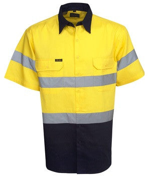 Hi Vis Cotton Twill Shirt with Reflective Tape Short Sleeve (C92) - Ace Workwear