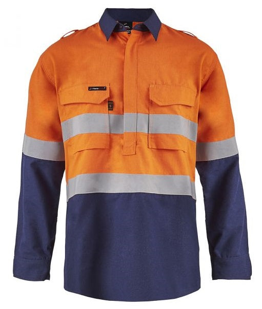 Workcraft Torrent HRC2 Mens Hi Vis Two Tone Close Front Shirt with Gusset Sleeves and FR Reflective Tape (FSV015) - Ace Workwear (4408779866246)