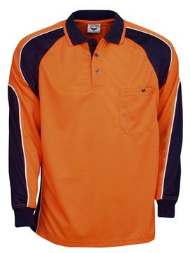 Hi Vis Micro Mesh Side Panel Polo Long Sleeve (P86) - Ace Workwear