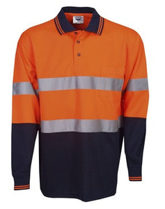 Hi Vis Micro Mesh Polo with Reflective Tape Long Sleeve - Orange/Navy