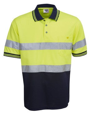 Hi Vis Micro Mesh Polo with Reflective Tape Short Sleeve (P92) - Ace Workwear
