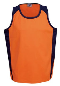 Hi Vis Micro Mesh Side Panel Singlet - Orange/Navy