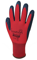 Bastion Munich - Red Nylon Gloves Black Crinkled Latex Coating - Carton (120 Pairs) (BSG4712)