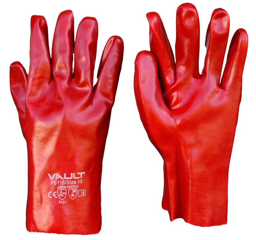Vault Red PVC 27cm Short Gloves - Pack (12 Pairs) - Ace Workwear