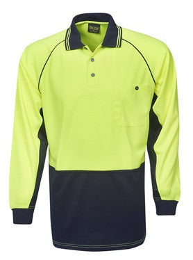 Hi Vis Raglan Sleeve Micro Mesh Polo Long Sleeve (P63) - Ace Workwear