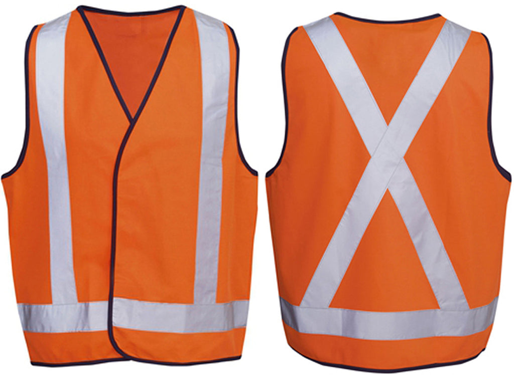 Hi Vis Safety Vest with Back Cross Reflective Tape - Ace Workwear